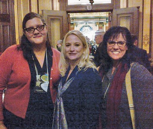 Connie Perkins, CPM, and Kate Mazzara, CPM, with bill co-sponsor Sen. Rebekah Warren (D-18, Ann Arbor).