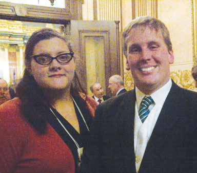 Connie Perkins, CPM, with Rep. Ed McBroom (R-108, Vulcan).