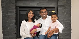 Primrose School of Canton Franchise Owners Kunjan (L) & Hemal (R) Patel pose with their 2-year-old son & newborn daughter.
