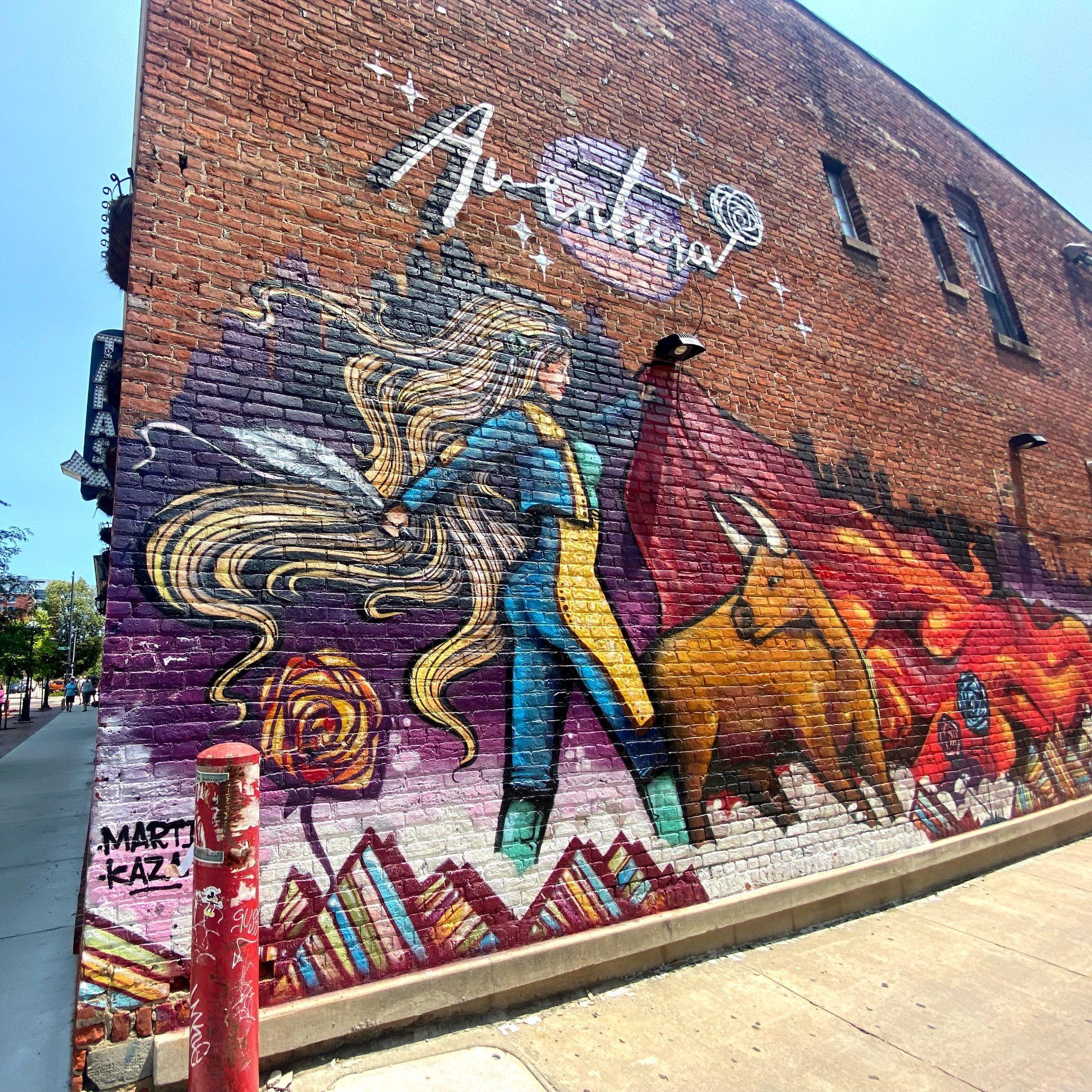 adventura bull fighting mural